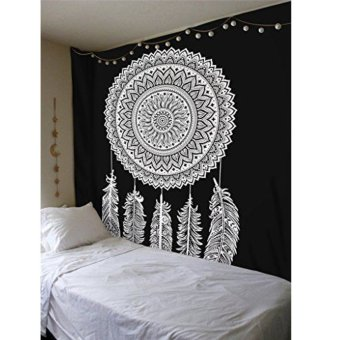 Dream Catcher hitam putih India Mandala permadani Wall Hanging Katun Mat Dekorasi