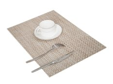 Eozy PVC Placemats Cup Coasters Table Mats Insulation Pads Hand Woven Beige Yellow European Dinner Vogue Rectangle Place Mat Set Of 4 (Beige) (Intl)