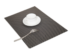 Eozy PVC Placemats Table Mats Cup Coasters Hand Woven Insulation Pads European Dinner Rectangle Place Mat Set Of 4 (Black Golden) (Intl)