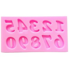 Fang Fang Mini Number Silicone Handmade Fondant Mould Cake Decorating DIY Mold (Pink)