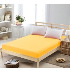 Flat Fitted Sheet Set Cotton Solid Color Bed Cover 180x200cm Yellow