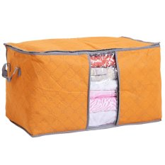 Foldable Transparent Window Compact Storage Bag For Clothing Quilt (Orange)