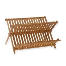 Folding Bamboo Dish Rack Drying Rack Holder Utensil Drainer (Wood Color)