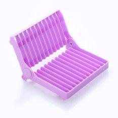 Folding Plastic Dish Rack Drying Rack Holder Utensil Drainer (Purple)