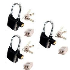 Gembok Alarm Lock Besi Baja Hardened + Gratis Baterai Cadangan - 3 paket