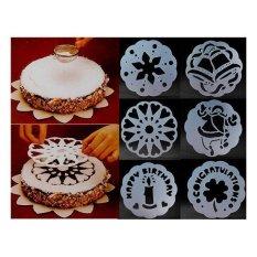 """Generic Cake Stencil Cake Pattern For 9"""" Round Cake 6pcs / Set (White) - Intl"""