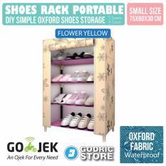 Godric Rak Sepatu OXFORD 5 Layer 4 Susun Lemari Motif SINGLE dengan Penutup Debu 75 x 60 x 30 CM - FLOWER CREAM
