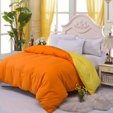 GoGoLife Cotton Bed Protector Two-tone Home Quilt Cover Single / Full / Queen / King Size-13# Orange And Yellow