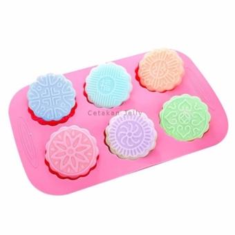 Griya Cetakan Sabun Moon Cake II 6 cav (Bulat Silikon) - Pink