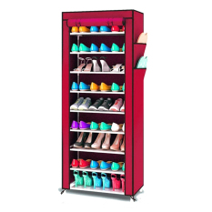 Grosir Station Rak Sepatu Portable 10 Susun / Shoe Rack With Dust Cover - Claret