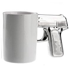 Handgun Pistol Shaped Ceramic Cup Coffee Mug Cup (Silver / White)