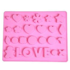 Hang-Qiao Non-stick LOVE Heart Cake Chocolate Ice Cube Tray Mold Pink
