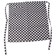 HengSong Polyester Cotton Grid Chef's Apron Men And Women Apron Black & White