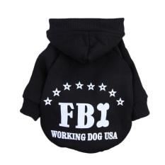Hewan Peliharaan Anak Kucing Anjing Polisi Lapis Pakaian Baju Hoodie Sweater Hitam S
