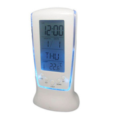 HKS LCD Digital Alarm Clock Calendar Thermometer Blue LED Backlight (Intl)