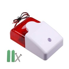HKS Mini 12V Voltage Wired Sound Alarm Strobe Flashing Light Siren Home Security System (Intl)