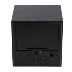 HKS Modern Wooden Digital Desk Black Alarm Clock Green LED Thermometer (Intl)