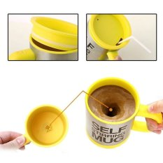 HKS Stainless Lazy Self Stirring Mug Automatic Mixing Coffee Cup (Yellow / Silver) (Intl)