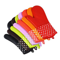HL 1 PCS Silicone Potholders Oven Mitts Heat Resistant With Quiltedcotton Lining Kitchen Gloves (Green)