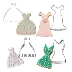 HL 4 Pcs / Set Metal Stainless Steel Wedding Woman Dress Cookie Cutters - Intl