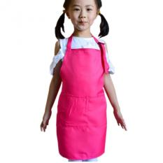 HL Baby Girl Boy Aprons Kitchen Lunch Garden Kid's Aprons Keepcleaning Pinafore (Pink)