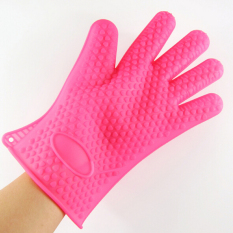 HL Kitchen Silicone Baking Bbq Oven Heat Resistant Mitt (Rose-Red)