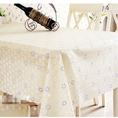 HL Pvc Tablecloth Plastic Cover Dining Coffee Tea Table Waterproofcloth 120 X 180 CM Blue Flower Crea M