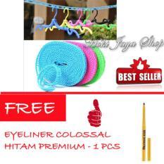 HOKI COD - Tali Jemuran 5 meter Serbaguna - Baju Handuk Hanger - Gantungan Baju - 1 Pcs Multi Colour FREE Eyeliner Spidol Colossal Premium Hitam - 1 Pcs