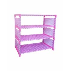 Home-Klik Rak Sepatu 4 Susun ( motif onde ) - Pink