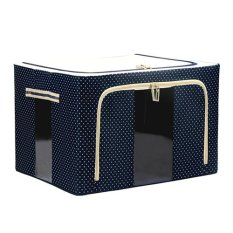 Home Organizer Foldable Non-Woven Fabrics Room Bag Clothes Blanket Storage Toys Box Navy Blue (Intl)