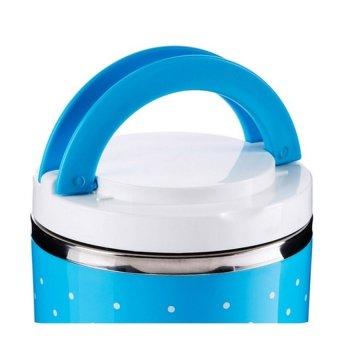 Homio Lunch Box Rantang 2 Susun + Pegangan - Biru