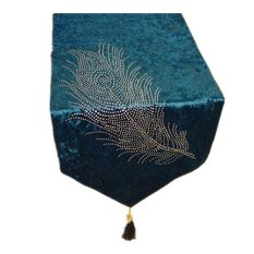 Hot Drilling Fashion Peacock Feathers Table Runner Home Decorative Blue (Intl)