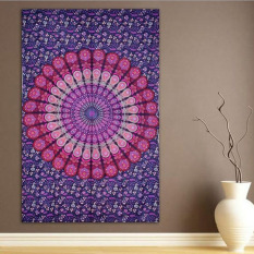 Indian Mandala Chiffon Peacock Printed Rectangle Beach Towels Beach Shawl Throw Tapestry Toalla Playa (Purple) 210x150cm - Intl