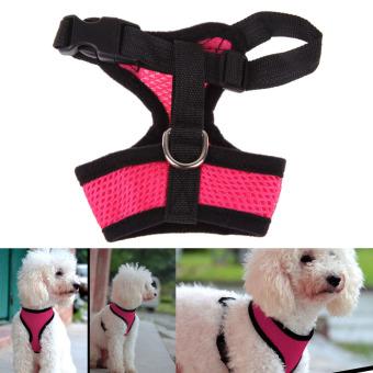 Jala Lembut Harness Anjing Hewan Peliharaan Kucing Anjing Pakaian Rompi Berwarna Merah Muda X