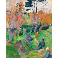 Jiekley Fine Art - Lukisan Brittany Landscape or Brittany Landscape with cows Karya Paul Gauguin - 1889