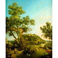 Jiekley Fine Art - Lukisan English Landscape Capriccio with a Palace Karya Canaletto - 1754