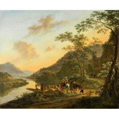 Jiekley Fine Art - Lukisan Italian Landscape with Ferry Karya Jan Both - 1652