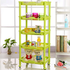 Kitchen Bathroom Toilet Sifang Shelf Shelves Plastic Washbasin Vegetables Five Layer Living Room - Intl