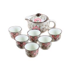 Kung Fu Galze Color Bone China Tea Set Tea Cups And Teapot Set Of 7, Red - Intl