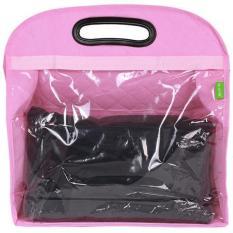 LALANG Hanging Transparent PVC Storage Bag Wardrobe Handbags Pink
