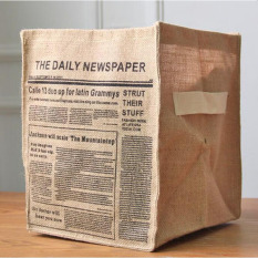 Laundry Storage Bags Jute Zakka Cloth Storage Basket Eco-friendly Desktop Storage Box Natural Basket Box Storage Bag (The Daily Newspaper) 32X25.5X25.5CM - Intl