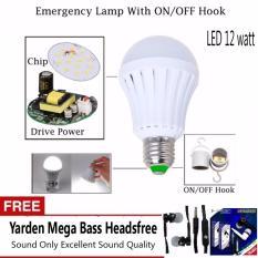 LED Bohlam Lampu Emergency 12 Watt Plus On/Off Hook - Putih + Free Yarden