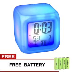Led Clock Cube Jam Kubus 7 Warna + Gratis Battery 4 pcs