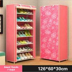 Lemari Rak Sepatu 8 Tingkat 7 Sekat Motif Bunga - Warna Pink