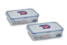 Lock&Lock HPL815C Divider - Tempat Makan Persegi Panjang - 550ml - Bening / Biru -2 Buah
