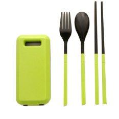 Look Set Makan Lipat Foldable Compact Travel Utensil Set with Spoon-Fork-Chopstick - Hijau