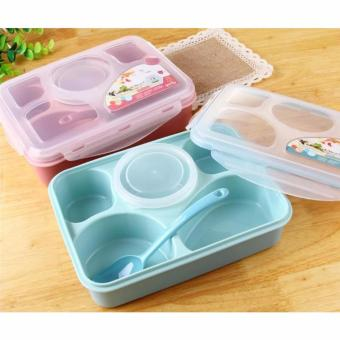 Lunch Box / Kotak Makan / Lunch Box Yooyee Plus Tempat Sup 5 Sekat - Pink