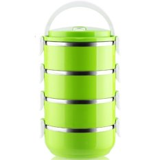 LZ 304 Stainless Steel Mulit Layer Lunch Box.Plastic Lunch Boxlunchbox Bento Lunch Box Food Container Student's Lunch Box (Doublelayer-Green) - Intl