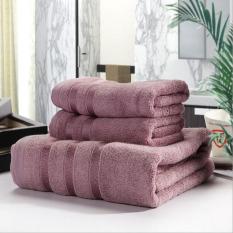 LZ 3Pcs / Set Soft Bamboo Fiber Bath Towel Sets For Adults Kids Solidbeach Towel Home Textile Bathroom Gifts Hotel Supply (Purple) 34X76cm And 70X140cm - Intl