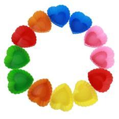 LZ Non Stick Heart Shape Bread Jelly Muffin Silicone Cupcakecase (Set Of 12, Random Color)